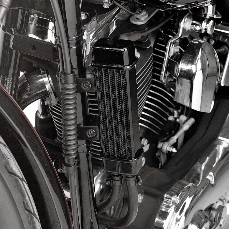 Slimline Oil Cooler System for Harley-Davidson Motorcycles DK Custom High Flow Performance Dyna Cooler Running Motor Jagg HD 10 row Black Softail Touring Trike Freewheeler Big Twin Evo Milwaukee Eight Sportster