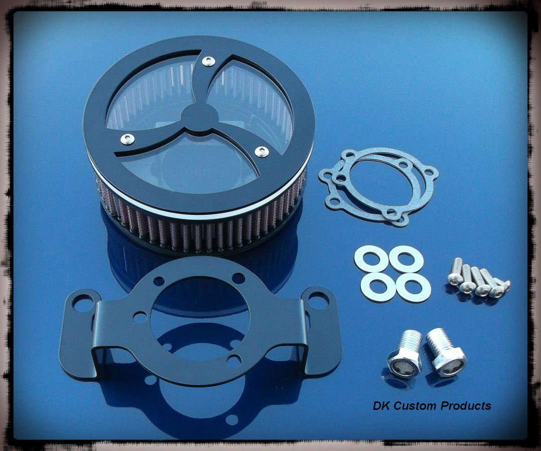 Black Cyclone HiFlow 587 Air Cleaner System - Transparent Cover  DK Custom Harley Davidson Outlaw Air Cleaner Systems Complete EBS High Flow M-8 Milwaukee-Eight Softail Twin Cam Dyna  Touring Trike Freewheeler  Big Twin Stage I TBW Throttle By Wire