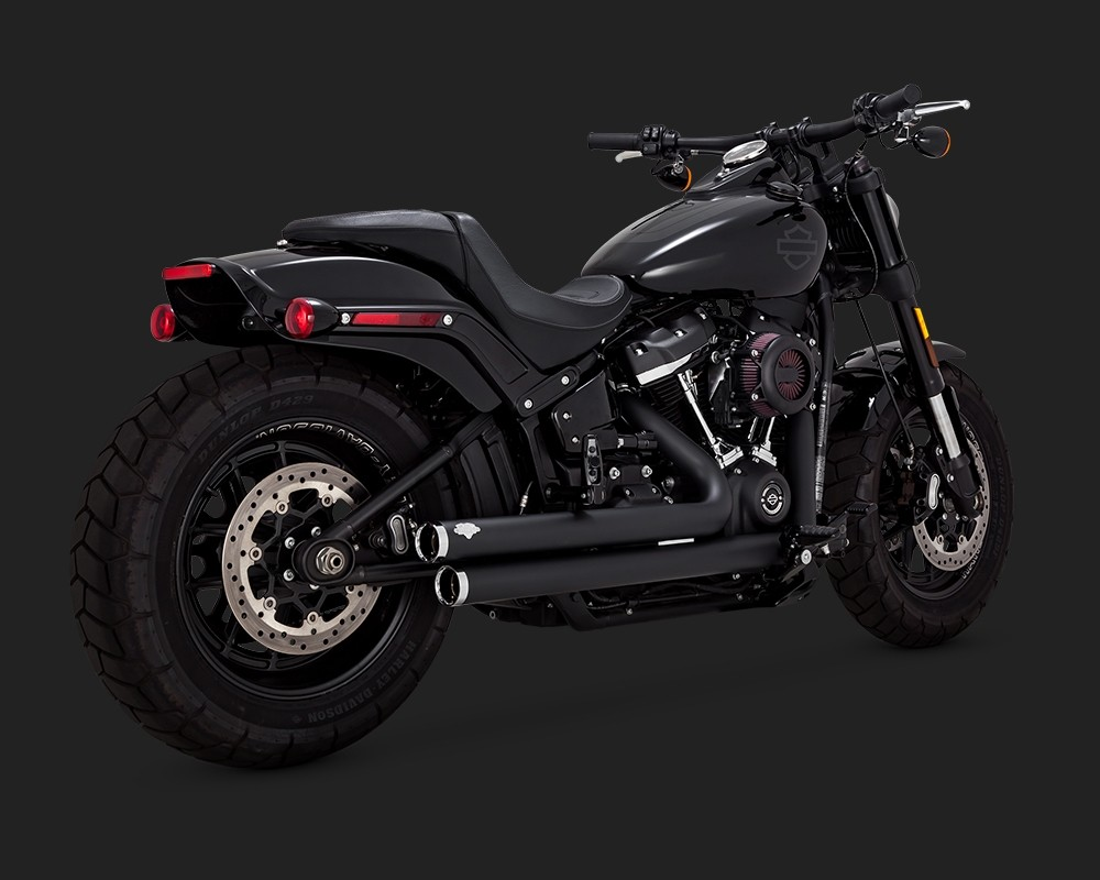 V&H Big Shots Staggered Exhaust for Harley Milwaukee-Eight Softail - Black Vance & Hines