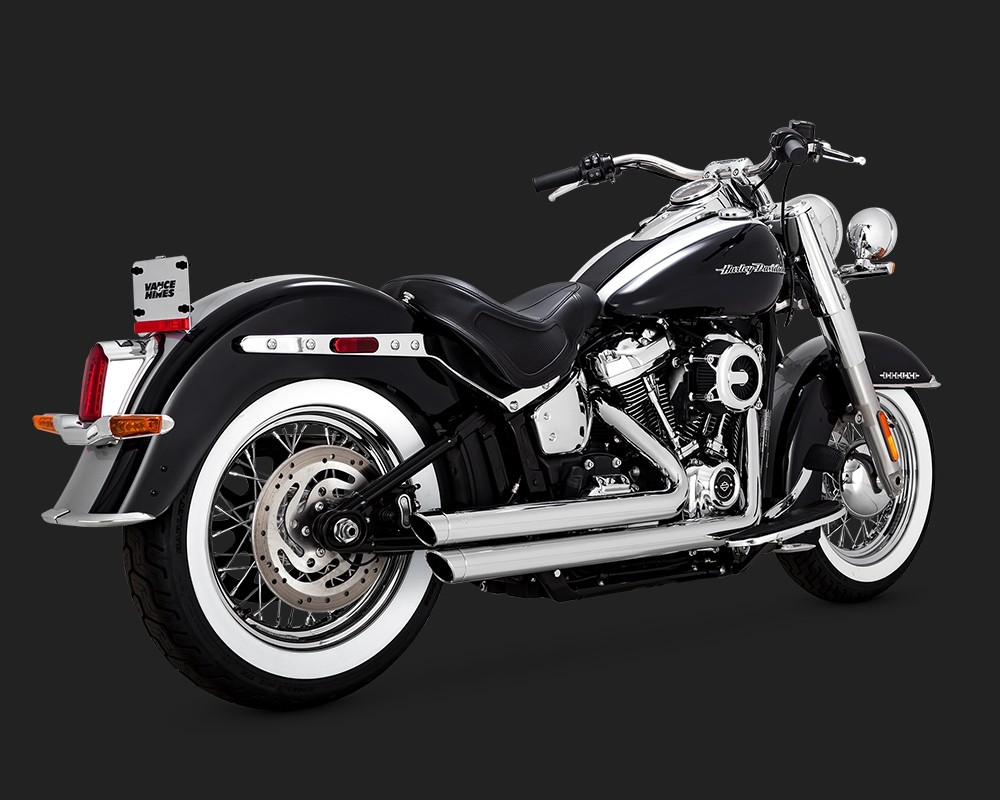 V&H Big Shots Staggered Exhaust for Harley Milwaukee-Eight Softail - Chrome Vance & Hines