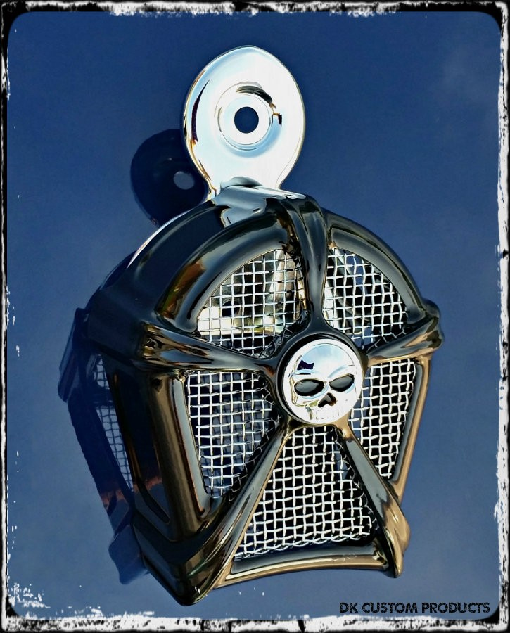 DK Custom Gloss Black & Chrome Mesh Cowbell Horn Cover for Harley Kuryakyn Willie G Skull