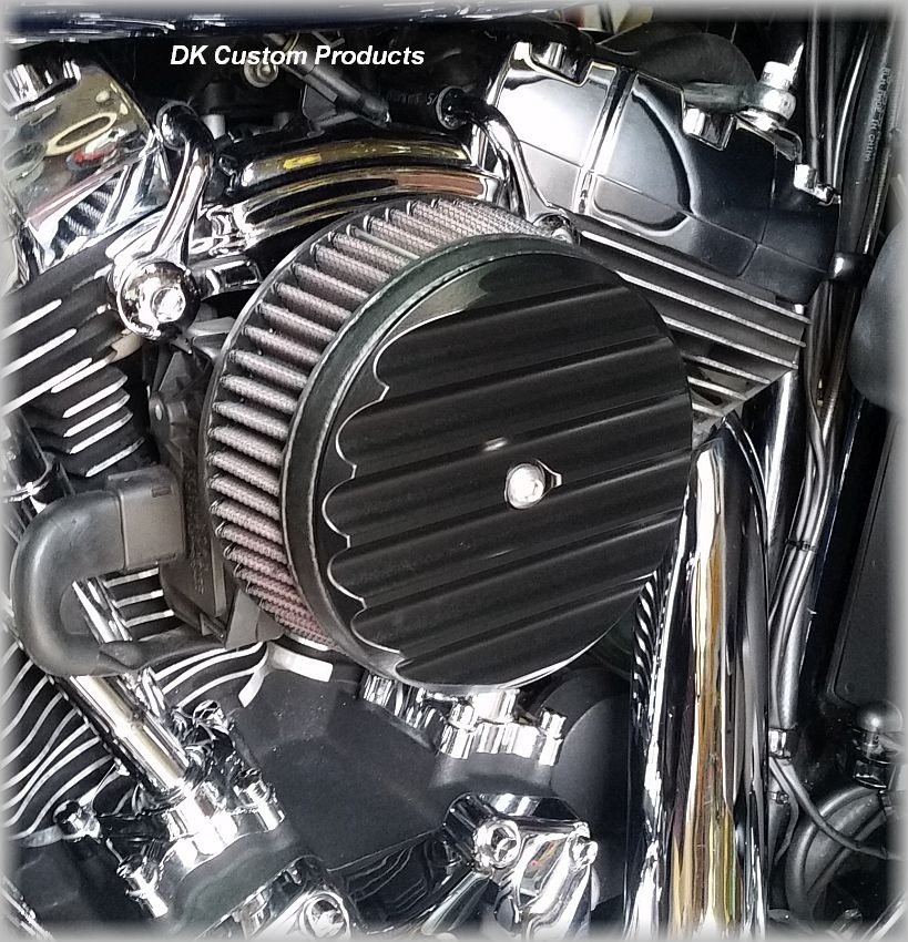 Black Finned HiFlow 606 Air Cleaner System Dyna Softail Touring DK Custom High Flow Harley Davidson performance air cleaner 606 intake kit K&N EBS External Breather System TBW Cable Operated