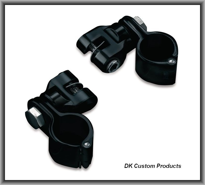 DK Custom Blacked-Out Highway Peg Mounting Kit - Hinged Clamp & Clevis Harley Davidson Kury Engine Guard Frame Foot Peg