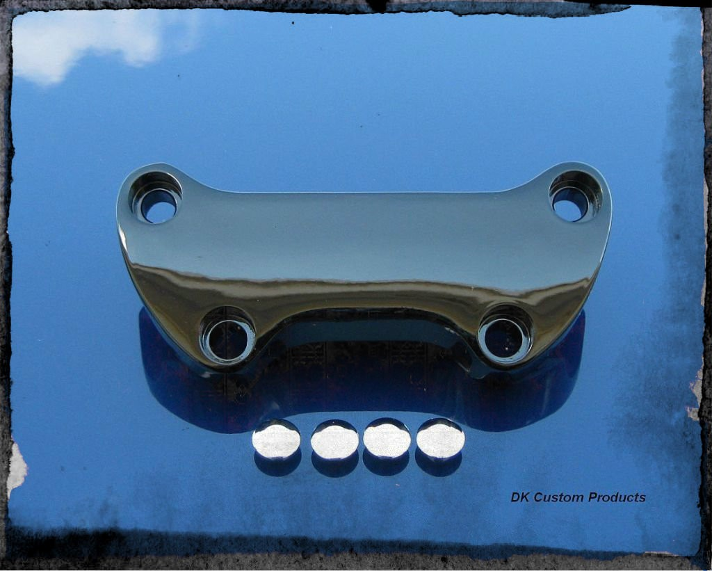 DK Custom Chrome Smooth Handlebar Top Clamp for Harley-Davidson Sportsters Super Custom 48 Dyna
