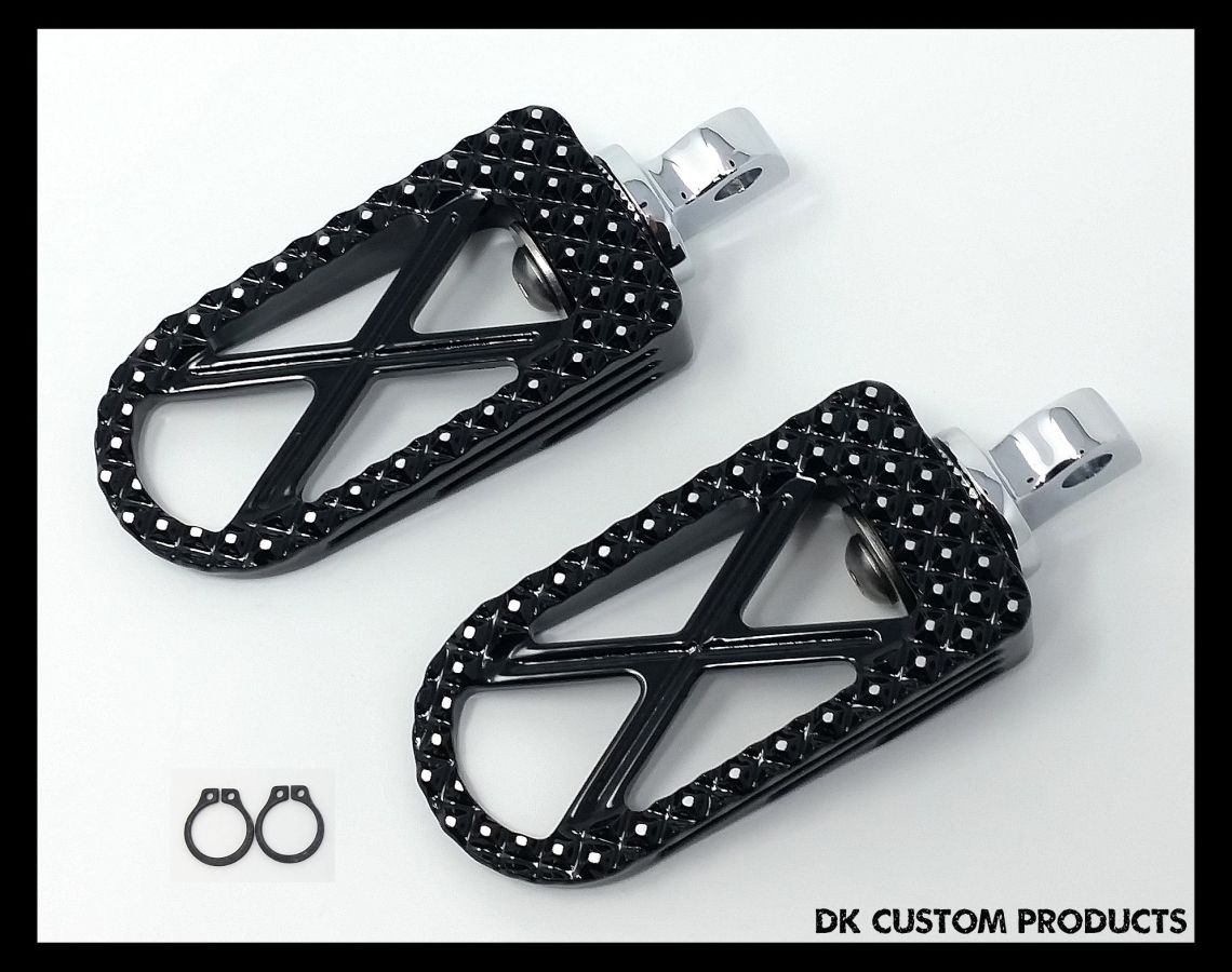 DK Custom Harley Foot Peg Footpegs Trap Bootlegger Outlaw Pegs Sportster Dyna Highway Softail