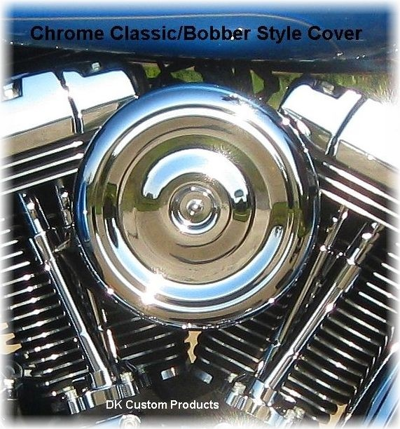Complete Chrome Bobber Style HiFlow 606 Air Cleaner All Twin Cam Dyna Softail Touring DK Custom High Flow Harley Davidson performance air cleaner 606 intake kit K&N EBS External Breather System TBW Cable Operated