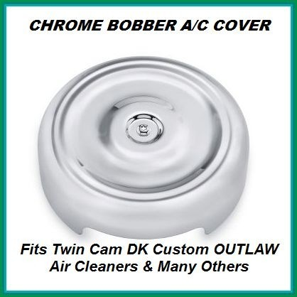 Chrome Bobber Cover Face Plate Harley Davidson 606 587 425 aluminum polished chrome Big Sucker Pro-Billet Made in USA contrast cut sano black High Performance air cleaner system Sportster Big Twin Evo DK Custom Outlaw Air Cleaner Interchangeable Face Plat