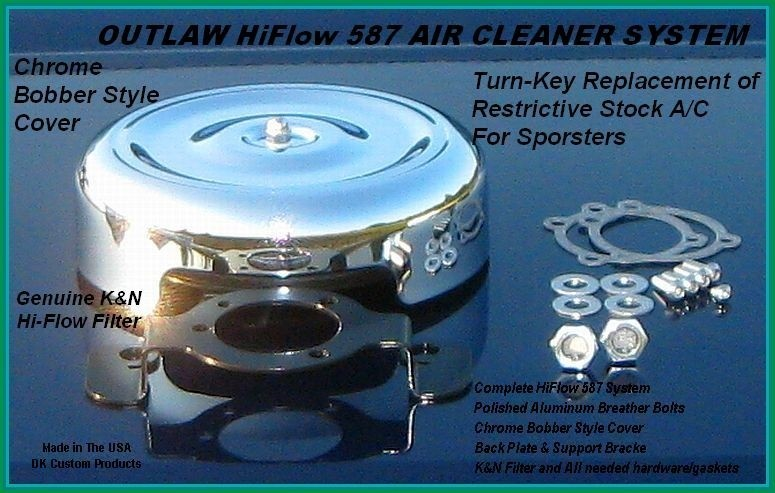 Chrome Bobber Style Complete HiFlow 587 Air Cleaner Twin Cam DK Custom Harley Davidson Outlaw Air Cleaner Systems Complete EBS High Flow M-8 Milwaukee-Eight Softail Twin Cam Dyna  Touring Trike Freewheeler  Big Twin Stage I TBW Throttle By Wire