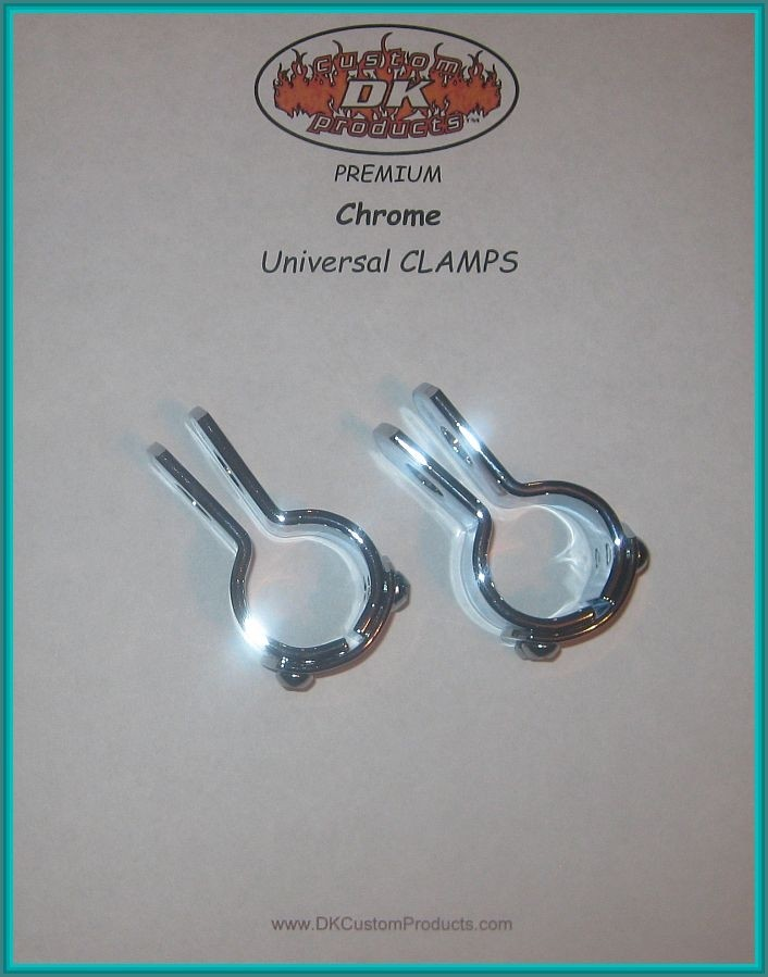 CHROME CLAMPS for Engine Guard - Crash Bar DK Custom Harley Davidson Highway Pegs Crash Bar Engine Guard COMPLETE KIT Sportster Dyna Softail Trike Freewheeler