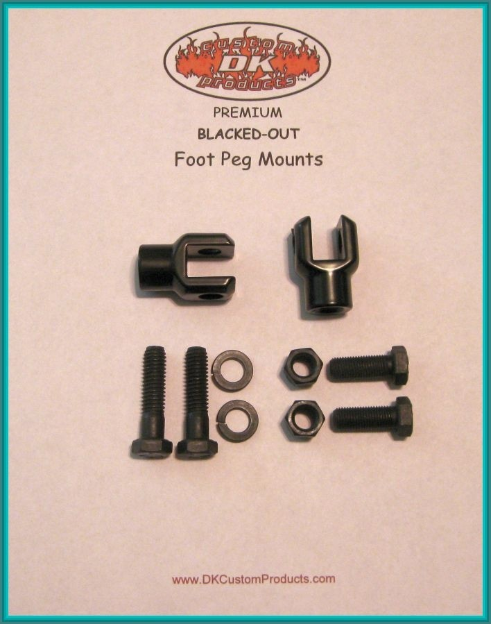 PAIR BLACKED OUT FOOT PEG MOUNT - CLEVIS DK Custom Harley Davidson Highway Pegs Crash Bar Engine Guard COMPLETE KIT Sportster Dyna Softail Trike Freewheeler