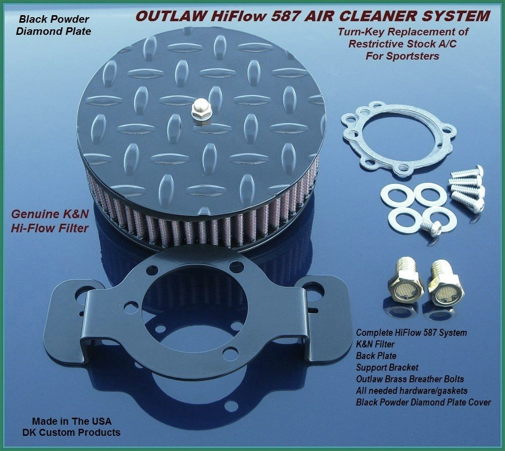 Black Diamond Plate Outlaw HiFlow 587 Air Cleaner System Sportster Harley Davidson High Flow Air cleaner DK Custom Nightster Iron 48 Custom Low SuperLow Bobber Stage I K&N EFI Carbureted Complete High Performance