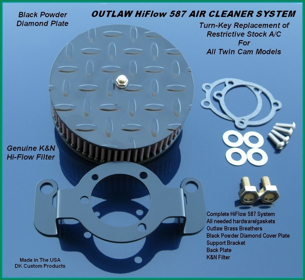 Black Diamond Outlaw HiFlow 587 Air Cleaner System Twin Cam DK Custom Harley Davidson Outlaw Air Cleaner Systems Complete EBS High Flow M-8 Milwaukee-Eight Softail Twin Cam Dyna  Touring Trike Freewheeler  Big Twin Stage I TBW Throttle By Wire