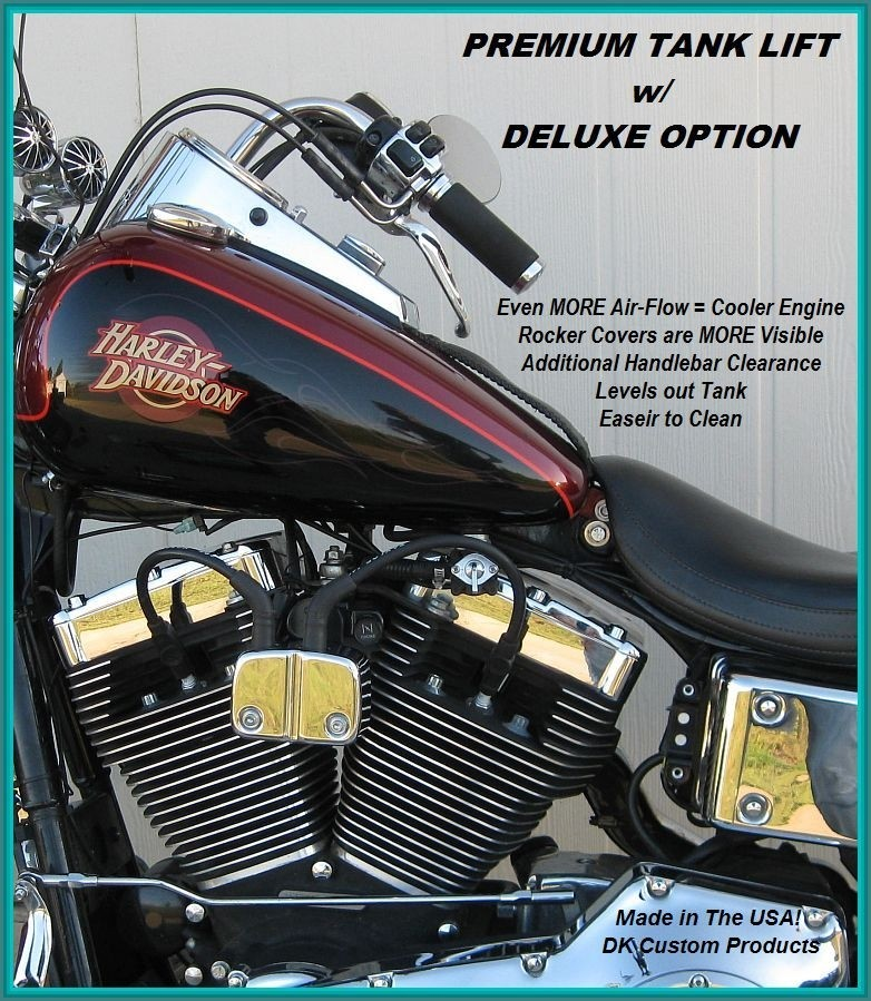 Harley Davidson DK Custom Products Deluxe option for tank lifts for Dyna Sportsters