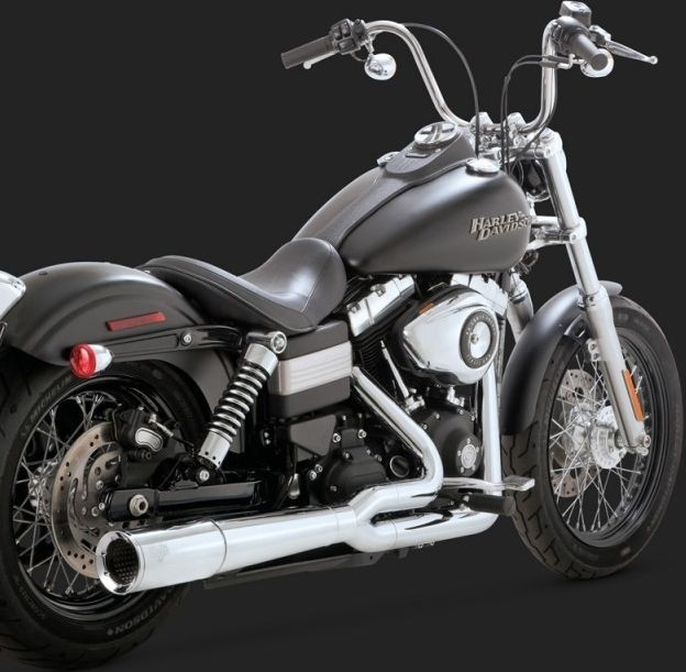 DK Custom V&H Pro Pipe 2-1 Exhaust for Harley Dyna - Chrome Vance & Hines Thunder Torque