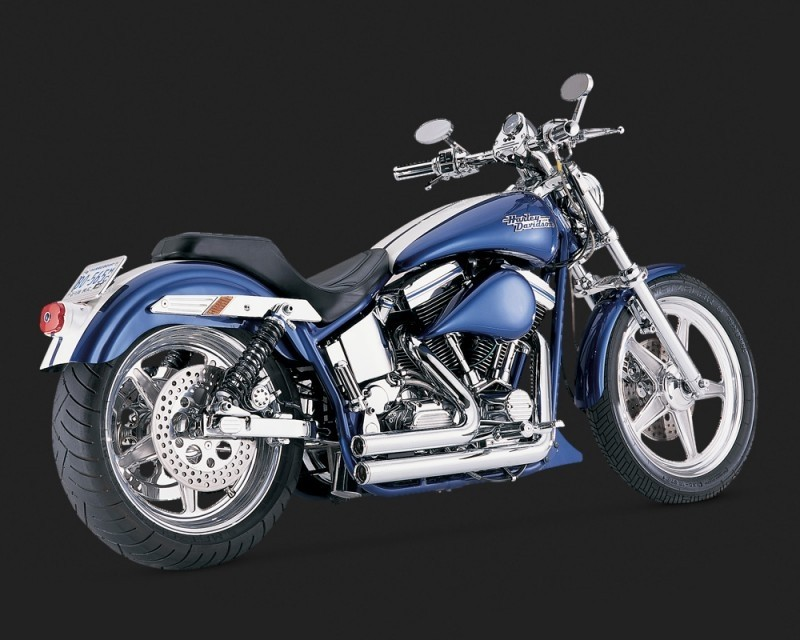 V&H Short Shots Staggered Exhaust for Harley Softail - Chrome