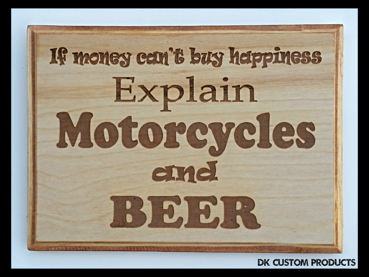 Man Cave Sign Plaque If Money Can't Buy Explain Beer Harley Gift Motorcycle DK Custom