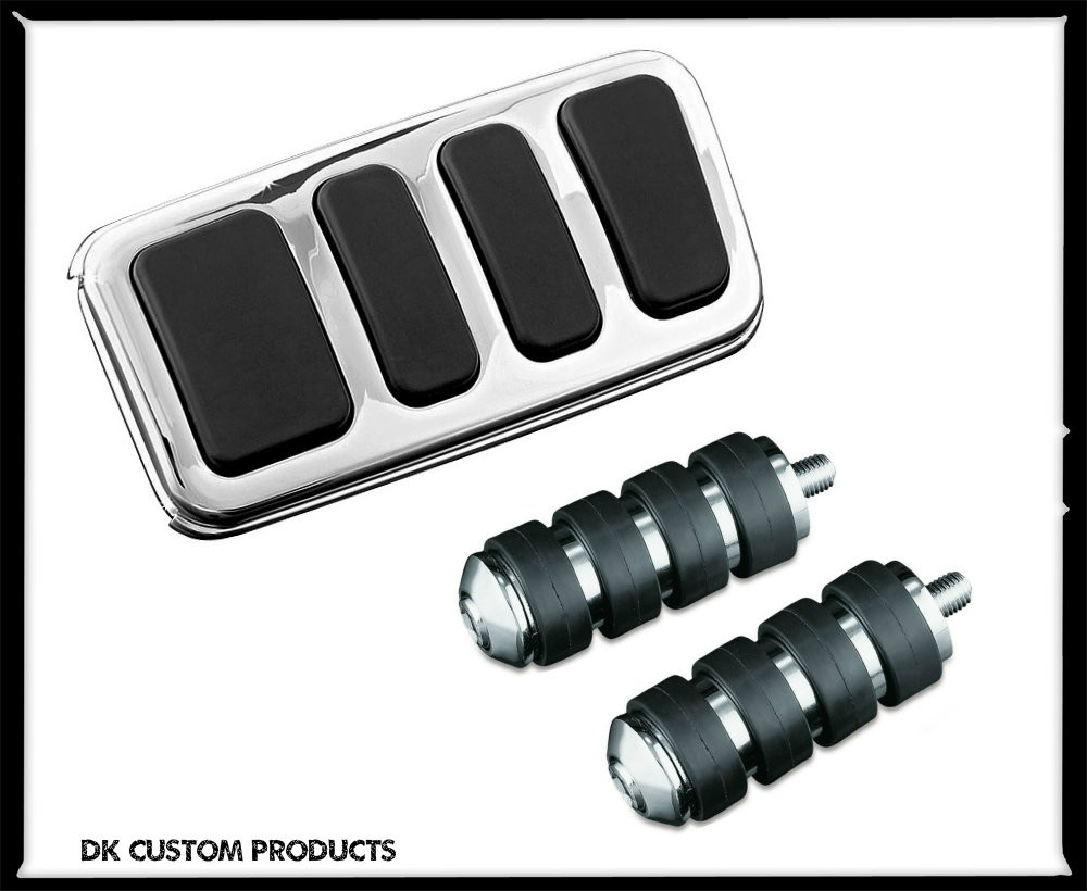 Extended Chrome ISO Brake Pedal Pad For Harley Touring Softail DK Custom Kuryakyn larger pedal for better braking control floorboard extension  extended shift shifter peg package