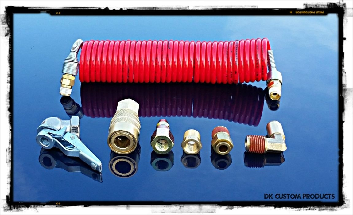 DK Custom MacAir - Trikes & Motorcycles w/ Rear Air Shocks External Air Port for Air Ride Systems & Builders Kits Harley Trikes Freewheeler Air Shock Adjustable Dirty Air  Tricky Air  Motor Trike  Legend Air