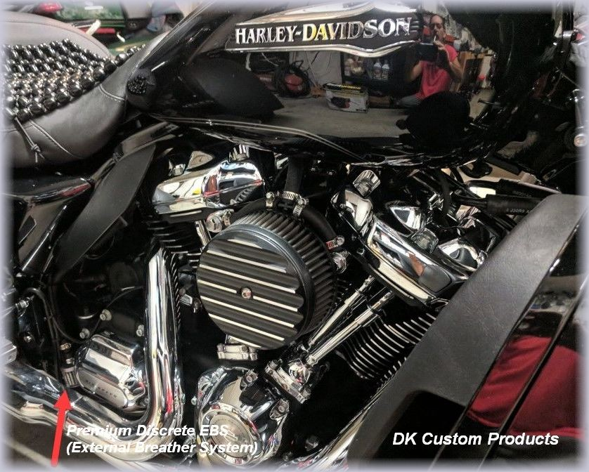 Contrast Finned HiFlow 606 Air Cleaner System Dyna Softail Touring DK Custom High Flow Harley Davidson performance air cleaner 606 intake kit K&N EBS External Breather System TBW Cable Operated