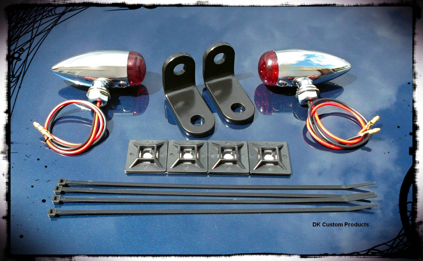 Chrome Streamliner Bullet Rear Turn Signal & Marker Lights Relocation Kit DK Custom Products Harley-Davidson  Universal fit for 12 volt motorcycles SEE & BE SEEN