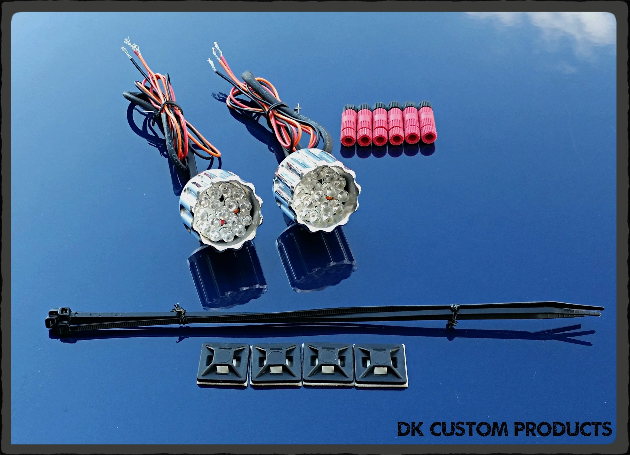 DK Custom 22LR Billet Run Brake Turn LED Lights Black Polished Harley Sportster Dyna Softail