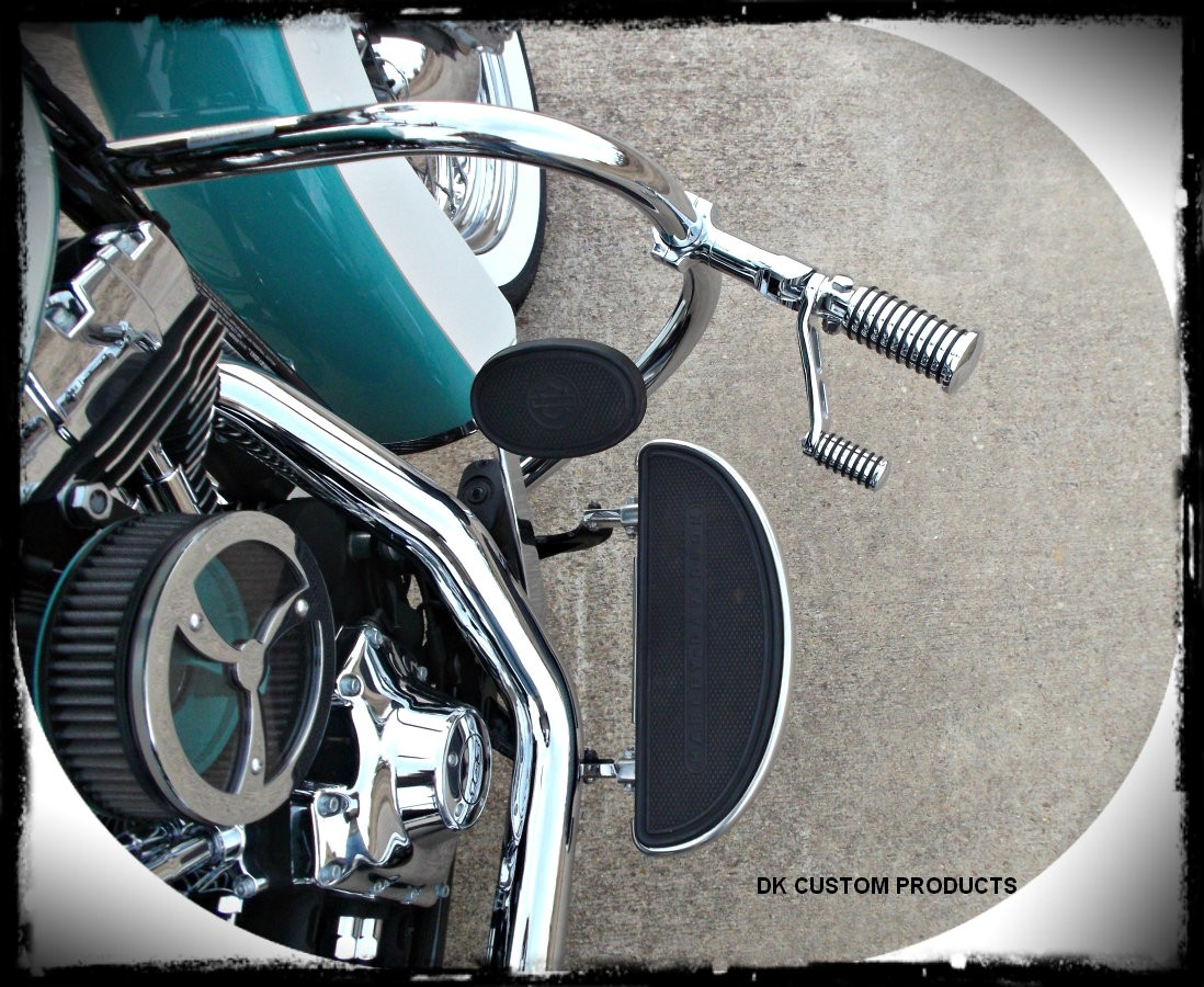 DK Cuatom Chrome Heel Rest Bracket & Arm Kit HARLEY DAVIDSON DK Custom Sportster Dyna Softail Forward Controls Highway Foot Peg Comfort