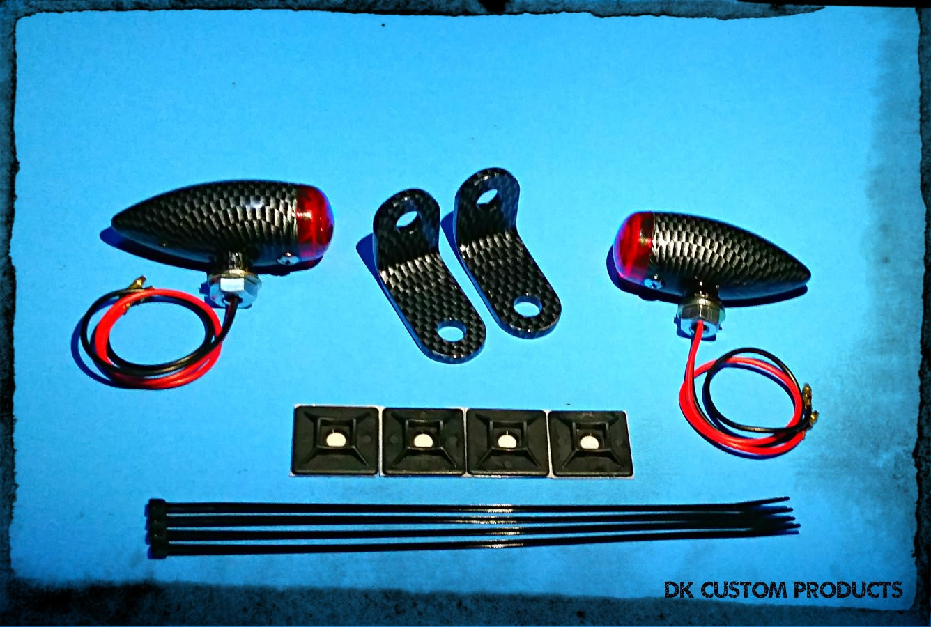Carbon Fiber Look CFL Streamliner Bullet Back Turn Signal & Marker Lights Relocation Kit DK Custom Products Harley-Davidson  Universal fit for 12 volt motorcycles SEE & BE SEEN
