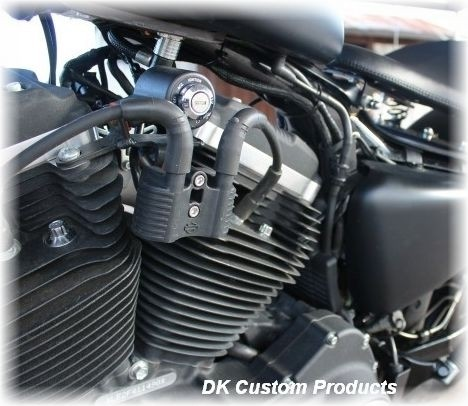 07-Up Coil and Ignition (key) Relocation DK Custom Harley-Davidson wire tuck better air flow runs cooler M-8 Milwaukee-Eight Softail Twin Cam Sportster Roadster Dyna  Touring Trike Freewheeler 72 48 Big Twin Evo Nightster