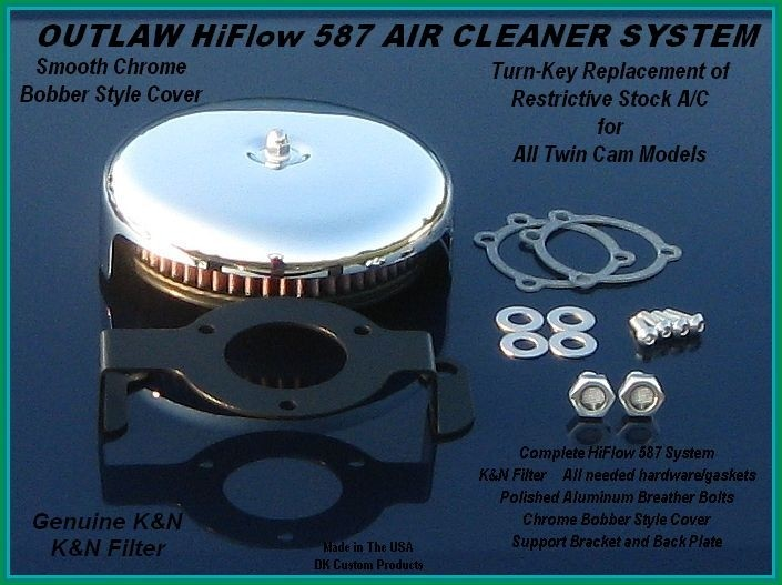 Twin Cam Complete HiFlow 587 Air Cleaner Smooth Chrome Bobber DK Custom Harley Davidson Outlaw Air Cleaner Systems Complete EBS High Flow M-8 Milwaukee-Eight Softail Twin Cam Dyna  Touring Trike Freewheeler  Big Twin Stage I TBW Throttle By Wire
