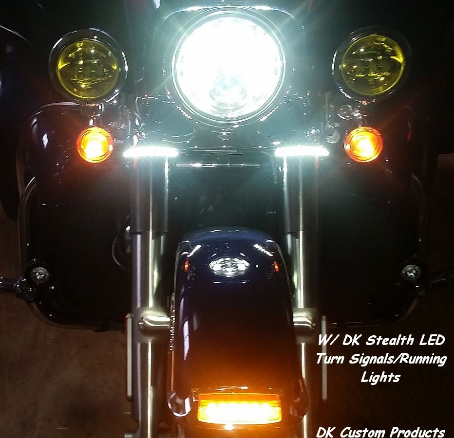 DK Custom Stealth LED Front Turn Signals - White Running lights Universal Fitment Harley-Davidson  Custom Dynamics SEE & BE SEEN
