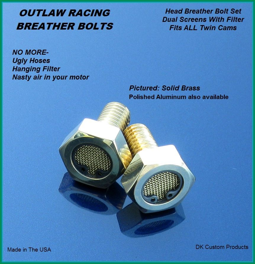 Outlaw Brass Breather Bolts Harley-Davidson TWIN CAM  Touring Softail Dyna Sportster DK Custom Harley Davidson High Flow EBS Outlaw M-8 Milwaukee-Eight Stage I Trike Tri Glide Freewheeler Big Twin Evo Sportster