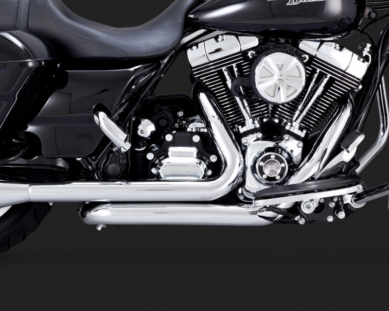 DK Custom V&H Dresser Headers True Duals for Harley Touring - Chrome Harley-Davidson Vance & Hines Trike Tri-Glide Freewheeler