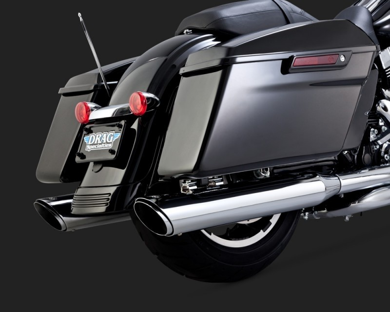 DK Custom V&H Twin Slash Round Slip-ons for Harley Dyna Touring - Chrome Harley-Davidson Vance & Hines