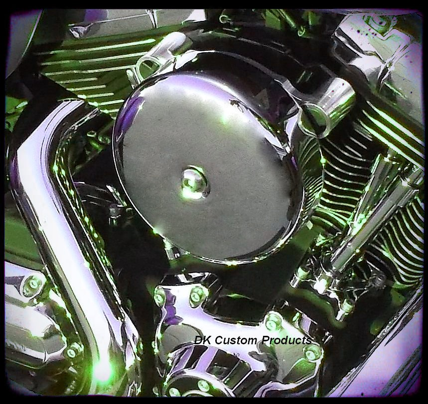 Smooth Chrome PRO BILLET Stage 1 Air Cleaner Harley Twin Cam Harley Davidson DK Custom Fuelmoto Cable Operated  External Breather system EBS High Flow Performance Dyna Softail Touring Trike Freewheeler Throttle by Wire TBW
