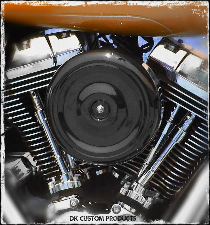 Black Bobber Style PRO BILLET Stage 1 Air Cleaner Twin Cam Harley Davidson DK Custom Fuelmoto Cable Operated  External Breather system EBS High Flow Performance Dyna Softail Touring Trike Freewheeler Throttle by Wire TBW