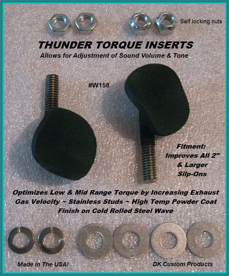 DK Custom Thunder Torque Inserts Increase Torque & give Flexibility in sound volume increasing inertial scavenging reducing engine pumping losses, increasing exhaust gas velocity Harley Davidson
