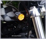 DK Custom Billet 22LR Polished Black Running Lights Turn Signal Bright LED Universal Fitment Harley Sportster Dyna