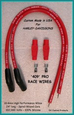 DK Custom 409 PRO RACE Plug Wires Universal Fit RED Taylor High Performance Maximum Fire Power Silicone ECM Coil Relocation Harley Davidson