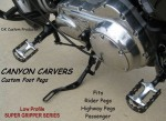 DK Custom Canyon Carver Trap FOOTPEGS Harley-Davidson Motorcycles Sportsters-Dynas-Softails-V-Rod's Super gripper Series Improve Lean Angle Adjustable