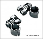 DK Custom Chrome Highway Peg Mounting Kit - Hinged Clamp & Clevis Harley Davidson Kury Engine Guard Frame
