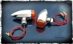 Chrome Streamliner Bullet Front Turn Signal & Marker Lights  DK Custom Products Harley-Davidson  Universal fit for 12 volt motorcycles SEE & BE SEEN