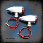 Chrome Streamliner Bullet Rear Turn Signal & Marker Lights  DK Custom Products Harley-Davidson  Universal fit for 12 volt motorcycles SEE & BE SEEN