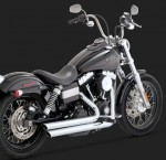 DK Custom V&H Big Shots Staggered for Harley Dyna - Chrome Power Chamber Cross-Over Vance & Hines
