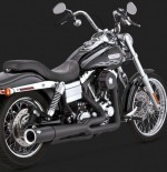 DK Custom V&H Pro Pipe 2-1 Exhaust for Harley Dyna - Black Vance & Hines Thunder Torque