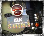 DK Custom License Plate Bracket  - horizontal Mount w/ Ford Model A Tail Light Sportster Dyna Softail left OR right side