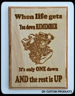 Man Cave Sign Plaque Life gets you down 1 down the rest up Harley Gift Motorcycle DK Custom