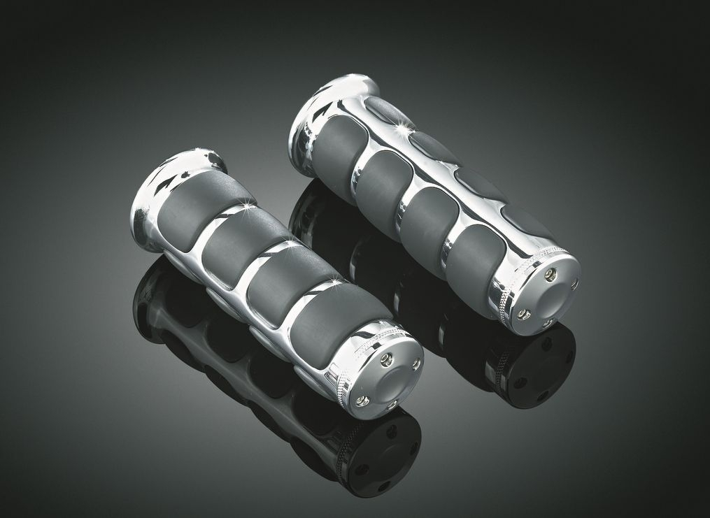 Chrome ISO Handlebar Grips For Harley-Davidson