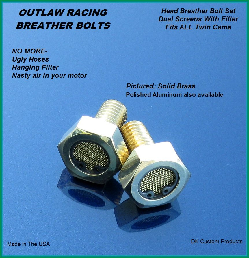 Outlaw Brass Breather Bolts