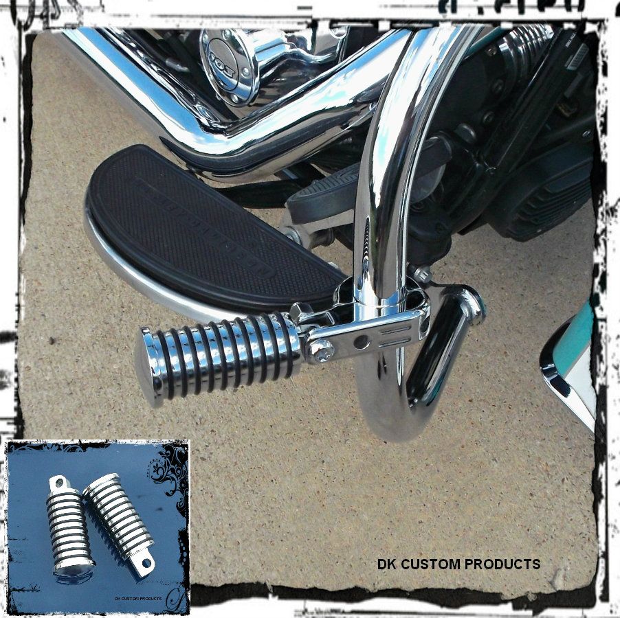 FAT RETRO CHROME FOOTPEGS FIT HARLEY SPORTSTER DYNA SOFTAIL