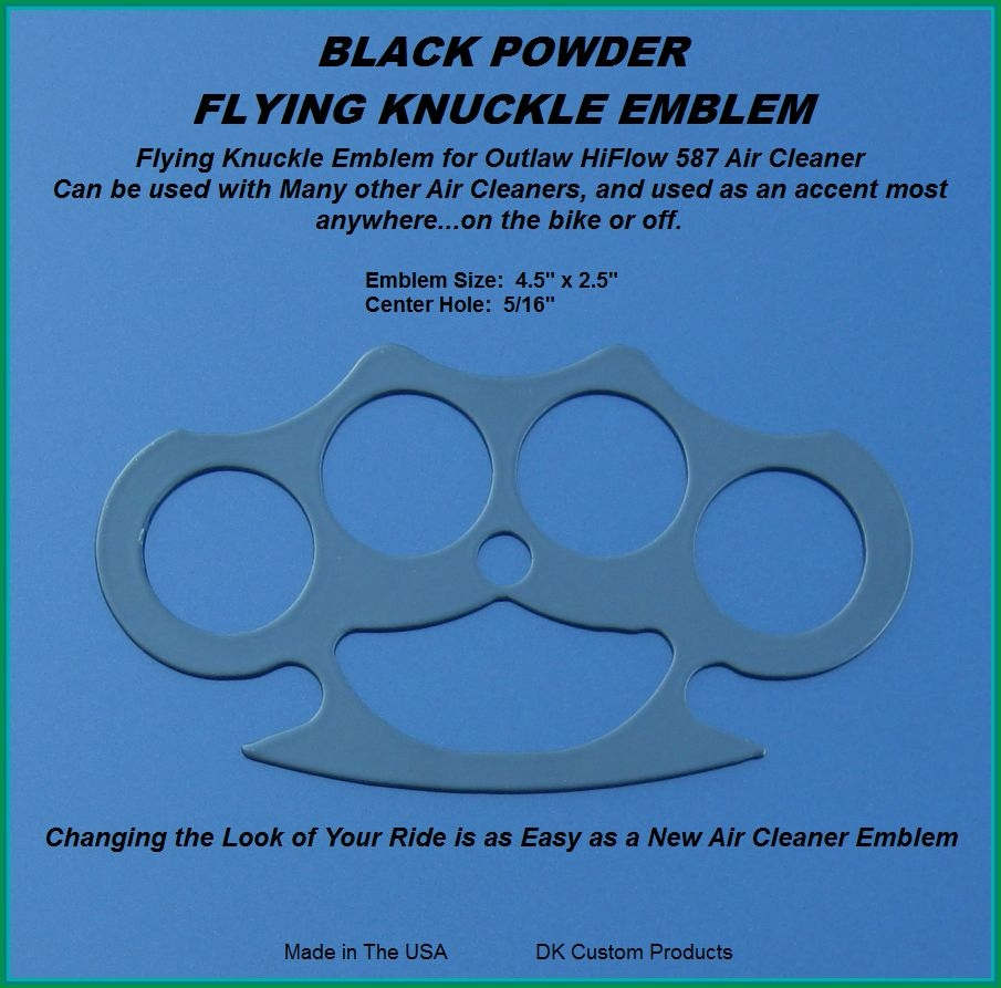 Black Powder Knuckle Emblem for DK Custom Outlaw Air Cleaner